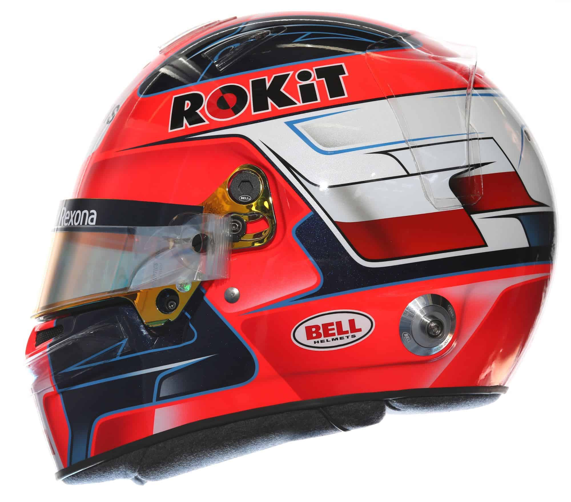 2019 Rokit Williams Racing Robert Kubica helmet left side Photo Williams Edited by MAXF1net