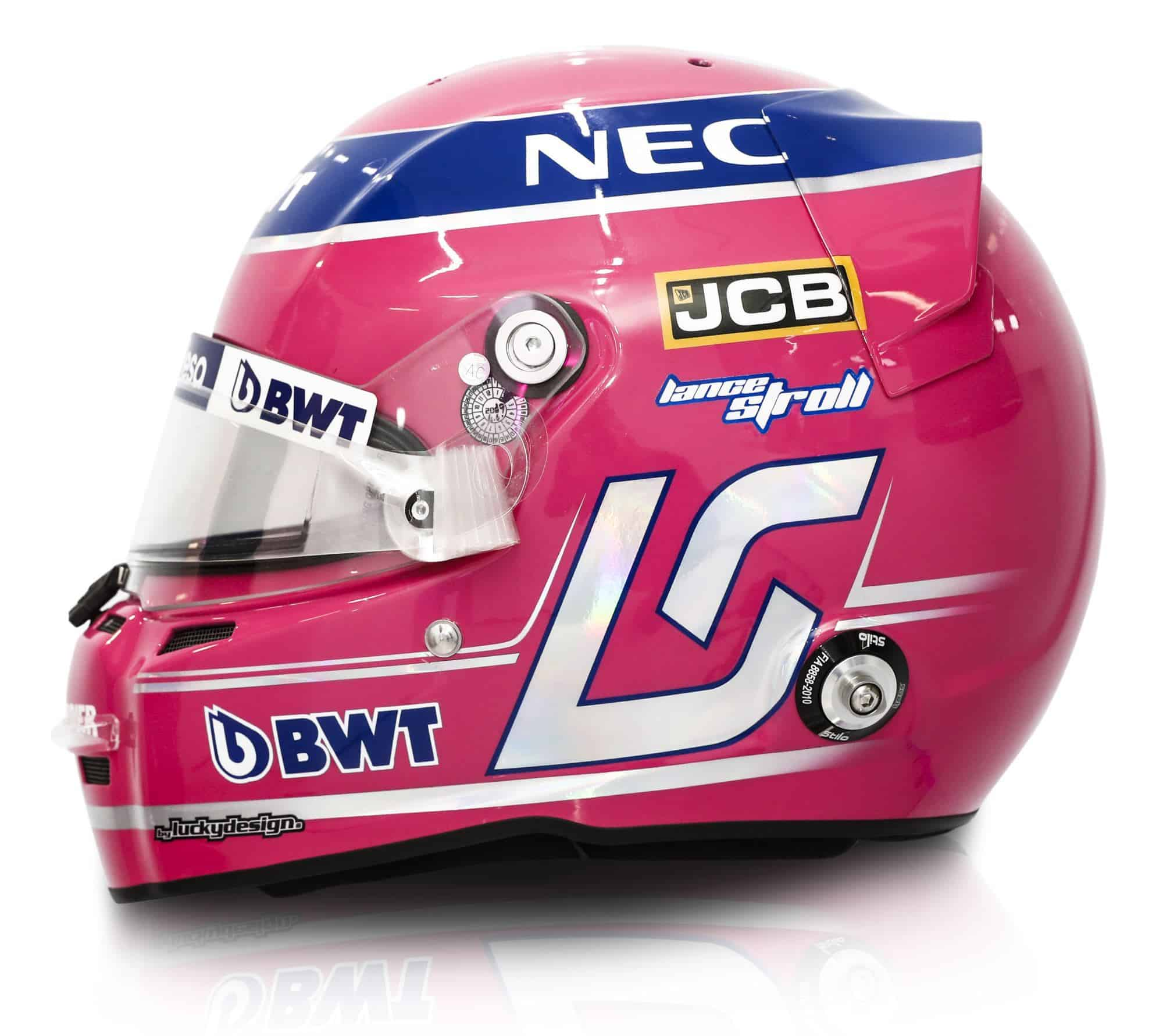 2019 Sport Pesa Racing Point Lance Stroll helmet left side Photo Racing Point Edited by MAXF1net