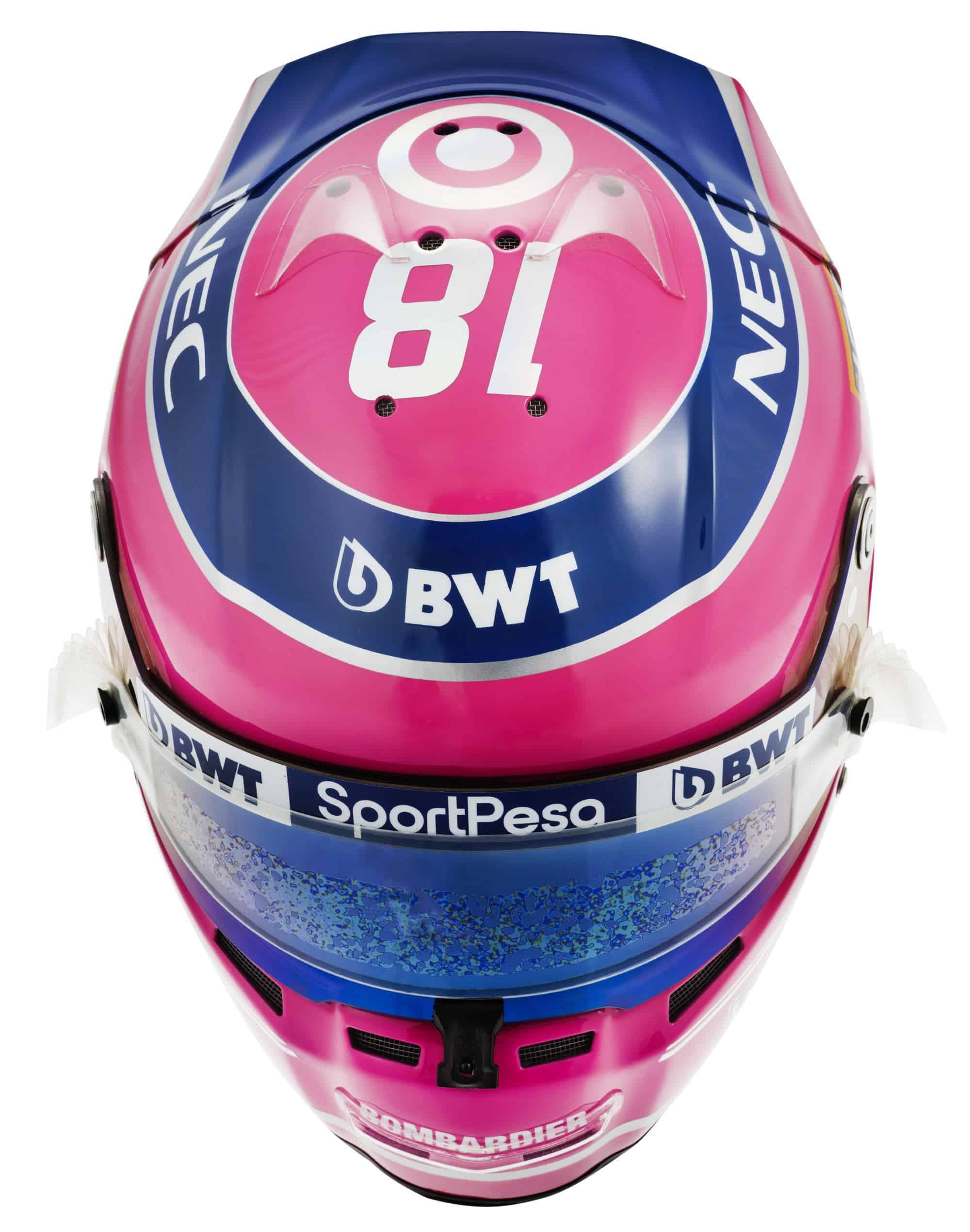 2019 Sport Pesa Racing Point Lance Stroll helmet top Photo Racing Point Edited by MAXF1net