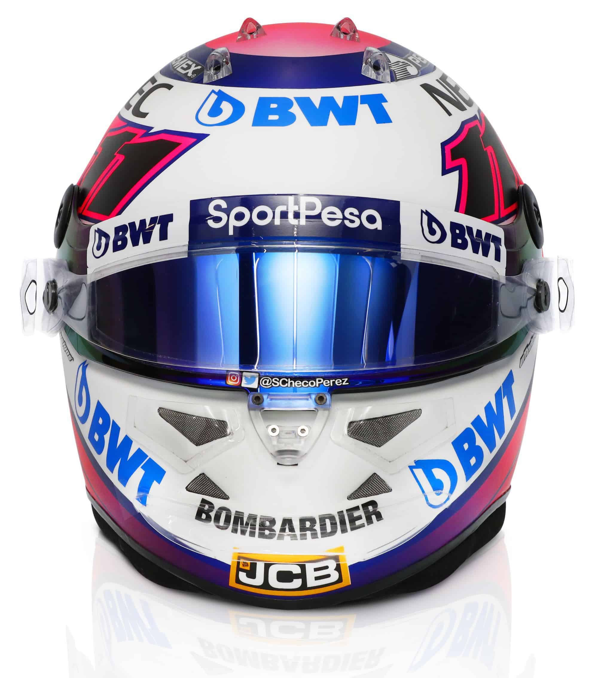 2019 Sport Pesa Racing Point Sergio Perez helmet front Photo Racing Point Edited by MAXF1net