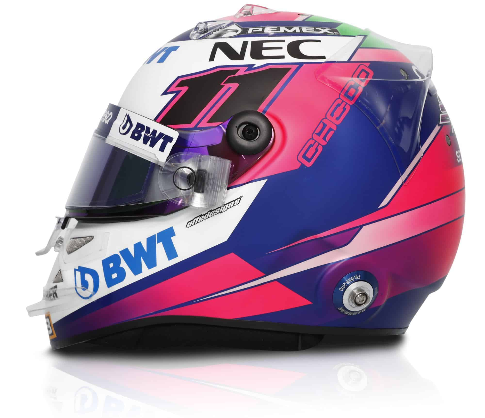 2019 Sport Pesa Racing Point Sergio Perez helmet left side Photo Racing Point Edited by MAXF1net