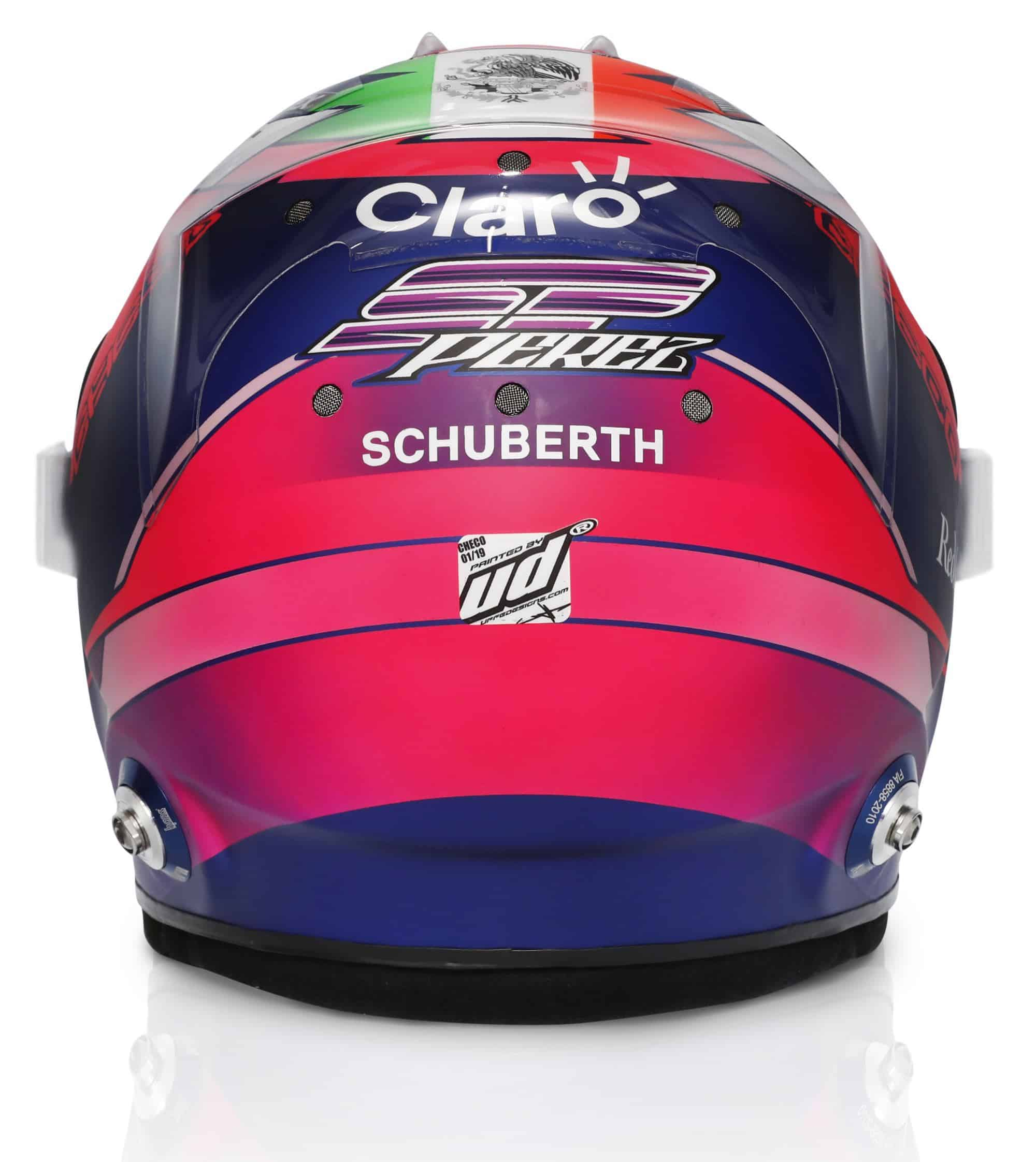 2019 Sport Pesa Racing Point Sergio Perez helmet rear Photo Racing Point Edited by MAXF1net