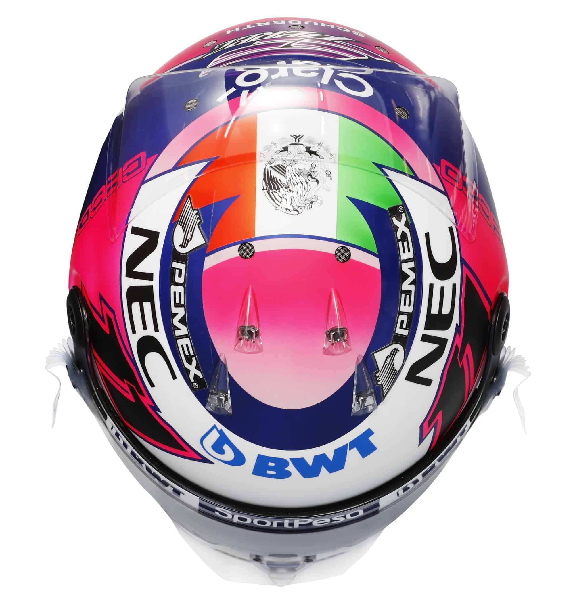 2019 Sport Pesa Racing Point Sergio Perez helmet top Photo Racing Point Edited by MAXF1net