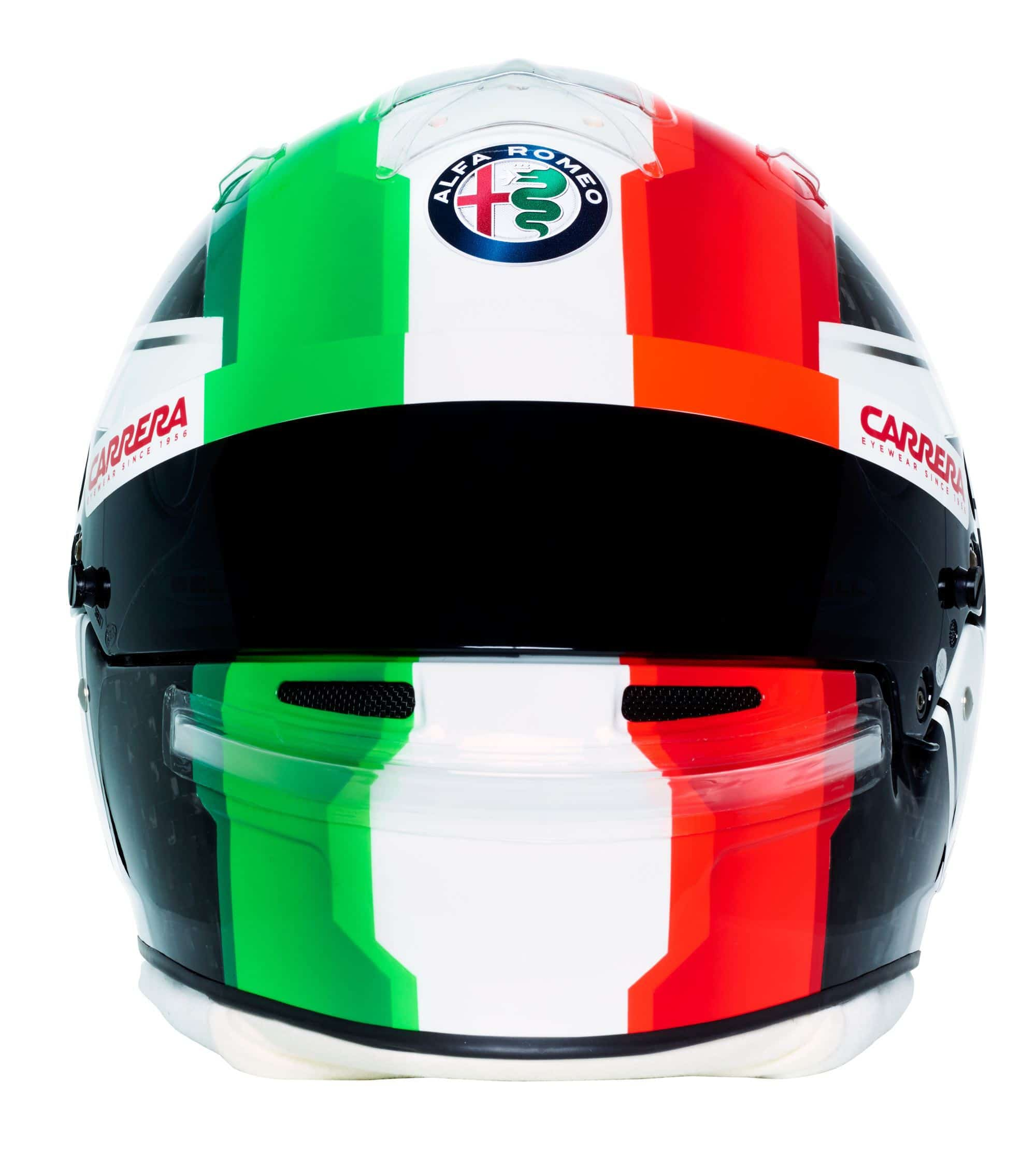 Antonio Giovinazzi 2019 F1 helmet Alfa Romeo Racing front Photo Alfa Romeo Edited by MAXF1net