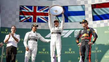 Australian GP F1 2019 podium Bottas Hamilton Verstappen Photo Daimler Edited by MAXF1net