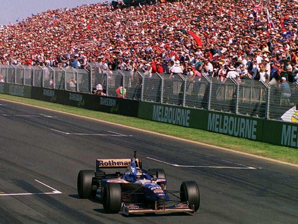 Damon Hill Williams FW18 Australian GP F1 1996 win finish line Photo Williams