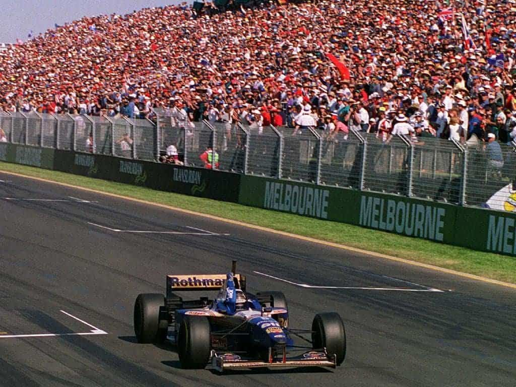 Damon Hill Williams FW18 Australian GP F1 1996 win finish line Photo Williams