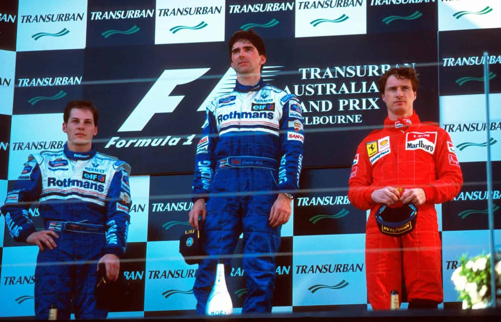 Damon Hill and Jacques Villeneuve Williams FW18 Eddie Irvine Ferrari Australian GP F1 1996 podium Photo Williams