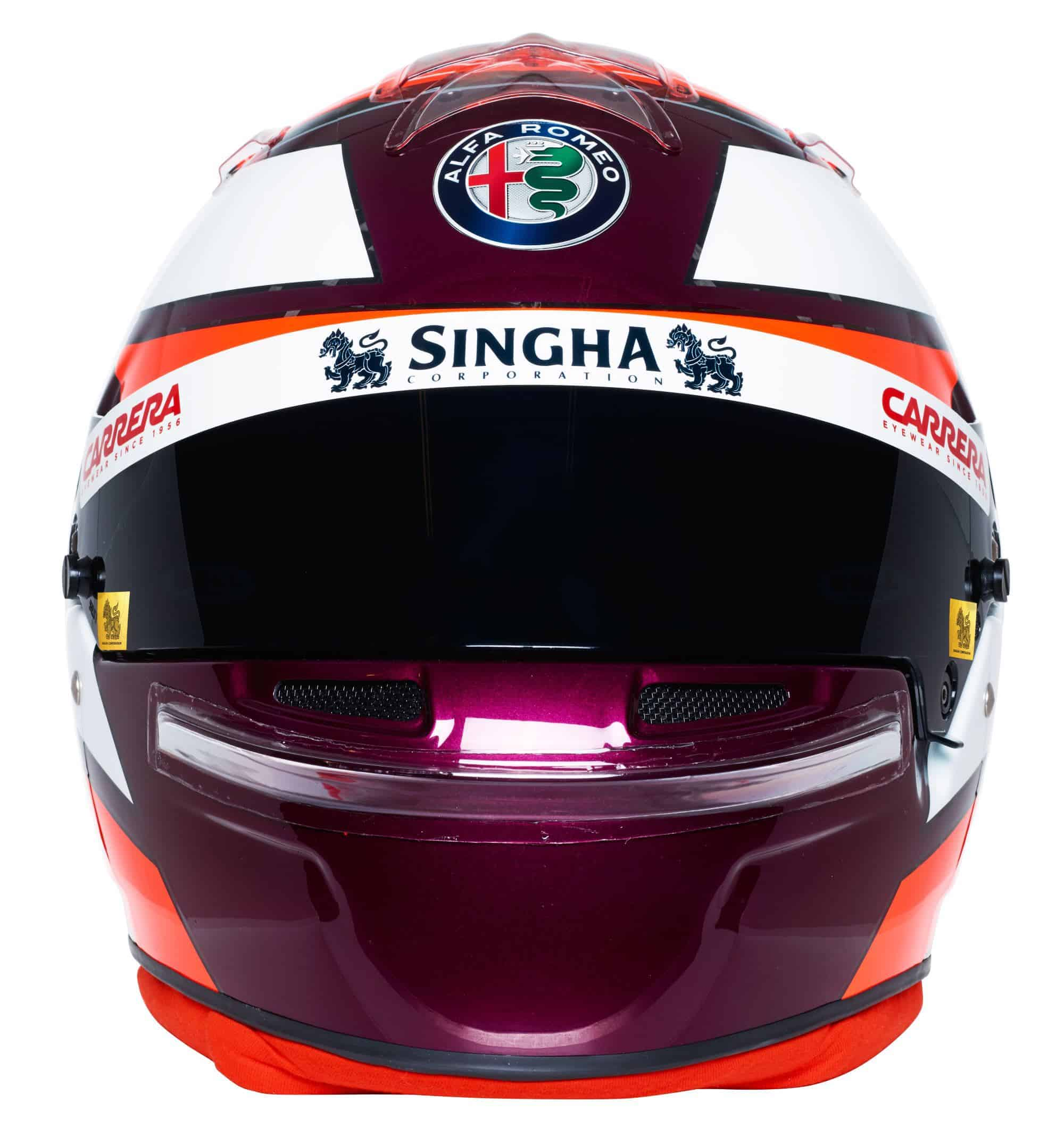 Kimi Raikkonen 2019 F1 helmet Alfa Romeo Racing front Photo Alfa Romeo Edited by MAXF1net