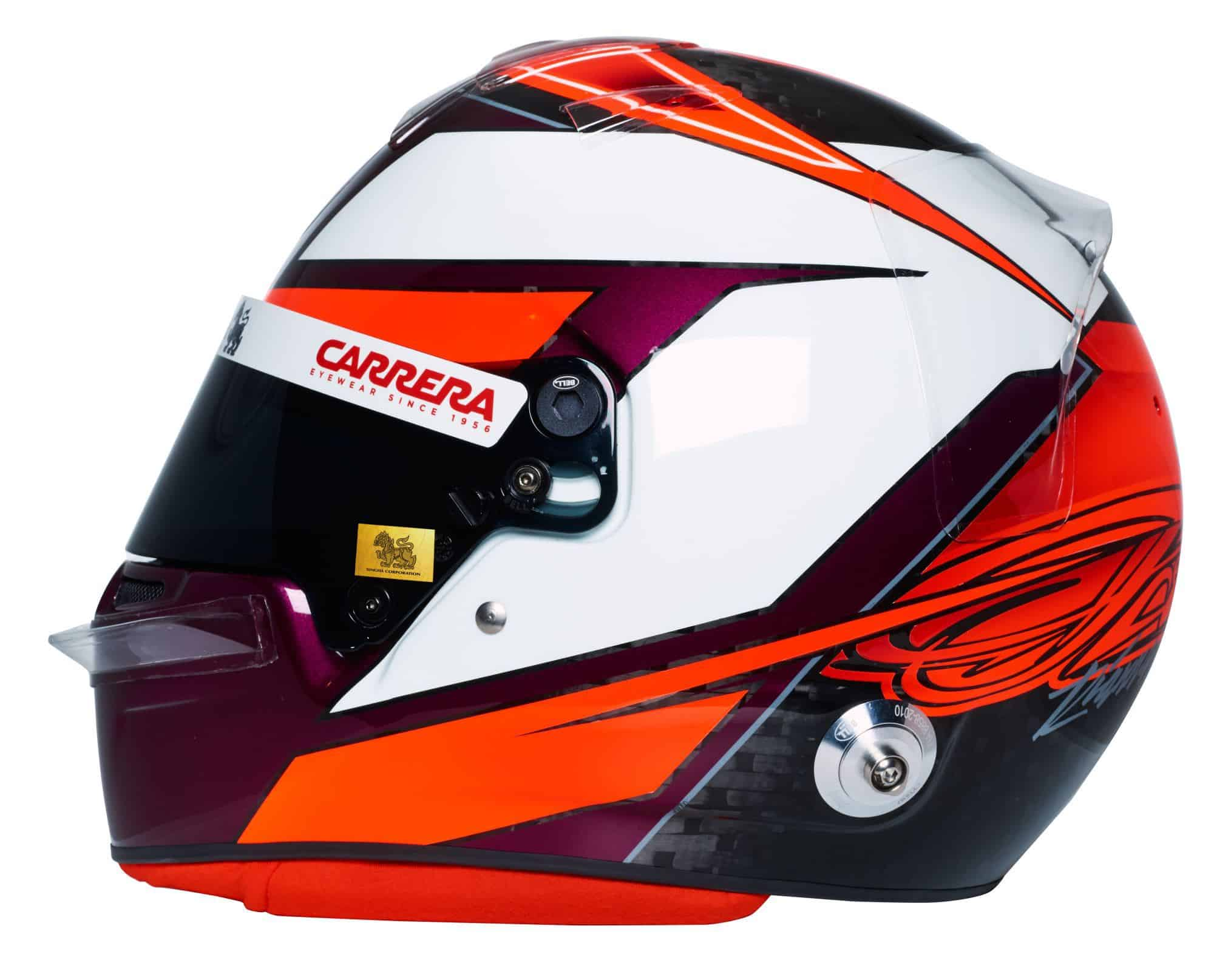 Kimi Raikkonen 2019 F1 helmet Alfa Romeo Racing left side Photo Alfa Romeo Edited by MAXF1net