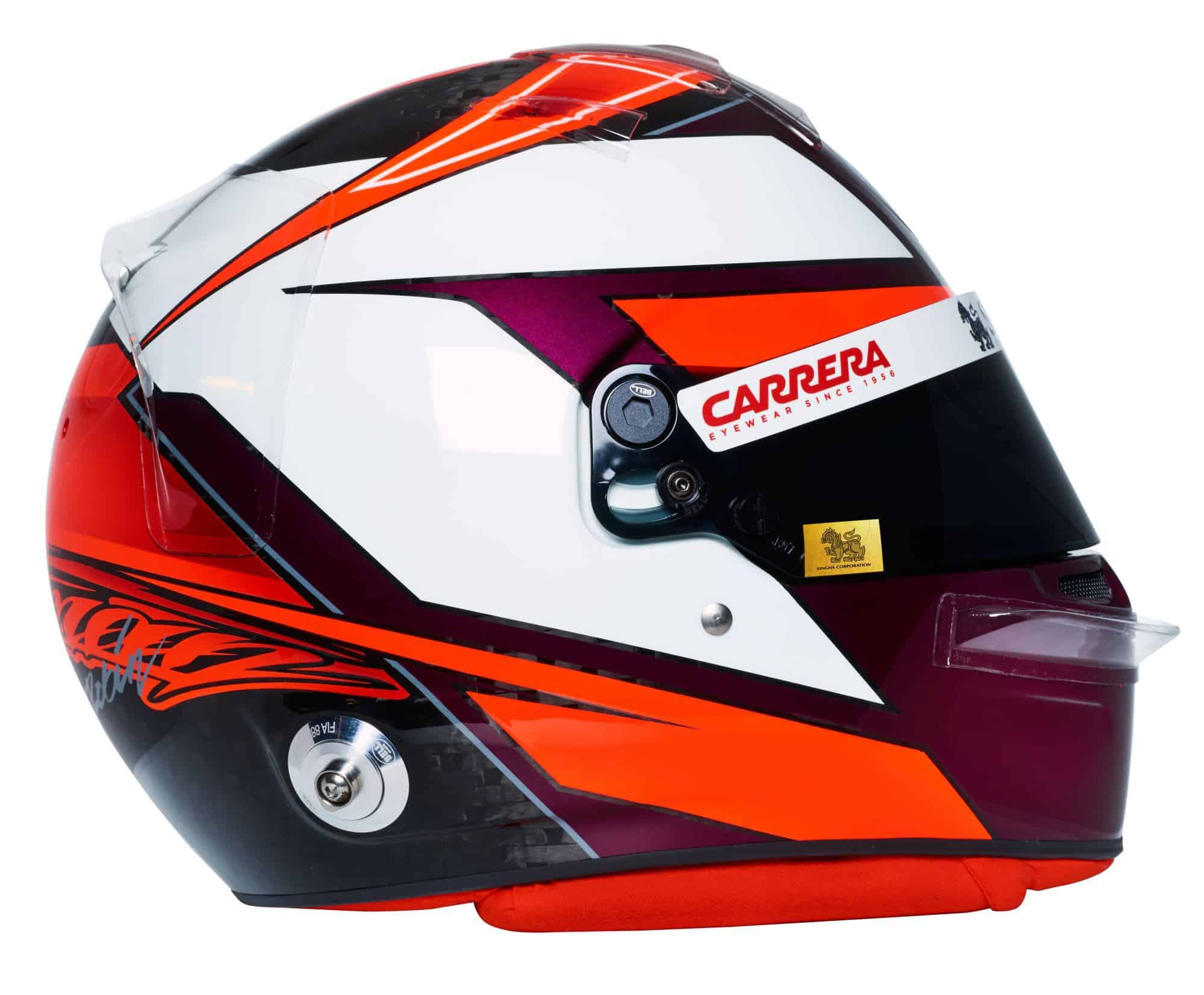 Kimi Raikkonen 2019 F1 helmet Alfa Romeo Racing right side Photo Alfa Romeo Edited by MAXF1net