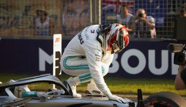 Lewis Hamilton Mercedes Australian GP F1 2019 after qualifying on the car Photo Daimler Edited by MAXF1net