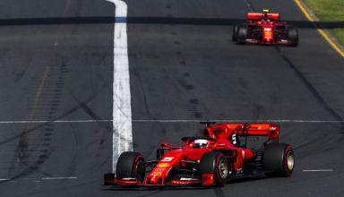 Sebastian Vettel Ferrari leads Charles Leclerc Australian GP F1 2019 Photo Ferrari Edited by MAXF1net