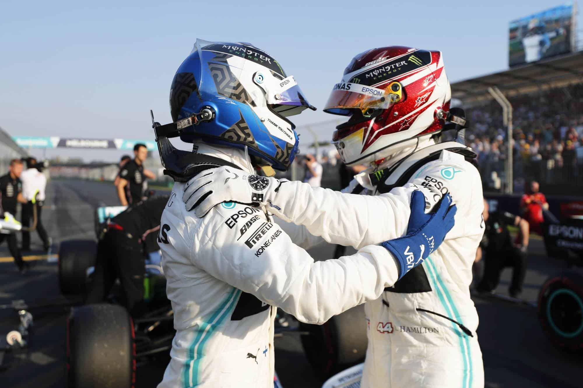Valtteri Bottas and Lewis Hamilton Mercedes Australian GP F1 2019 helmets post qualifying Photo Daimler Edited by MAXF1net