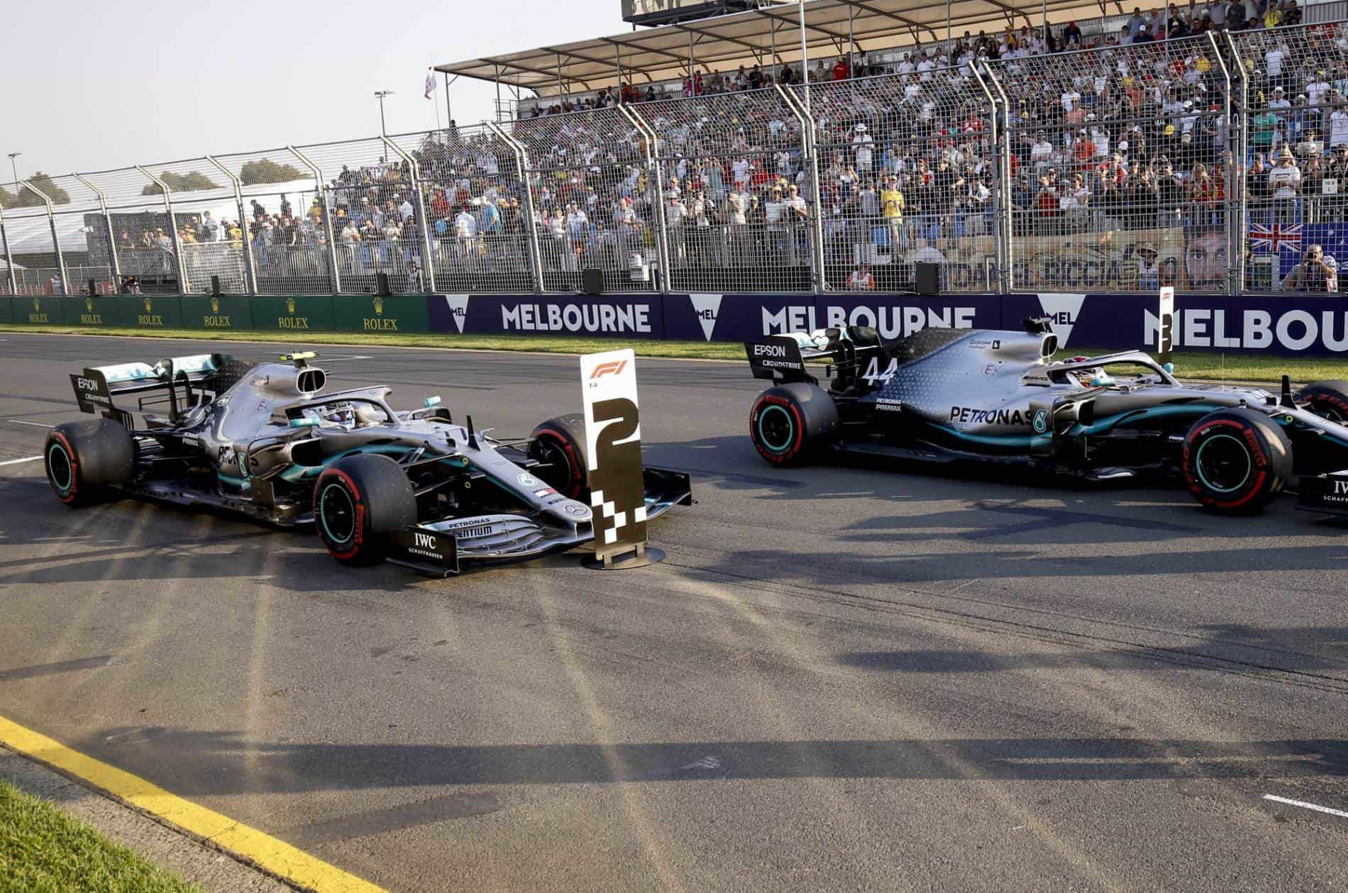 Valtteri Bottas and Lewis Hamilton Mercedes Australian GP F1 2019 post qualifying on track Photo Daimler Edited by MAXF1net