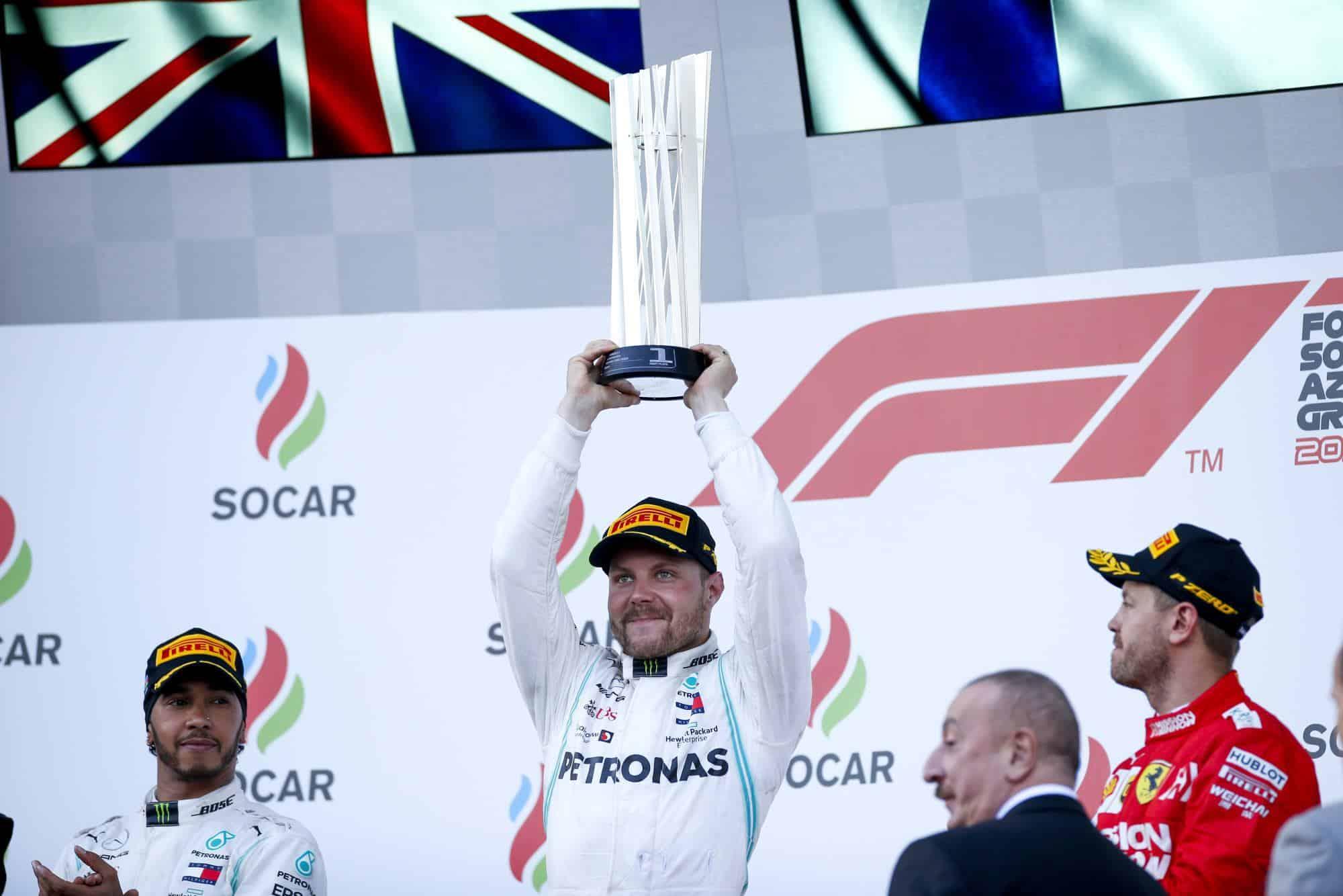 2019 Azerbaijan GP F1 podium Bottas Hamilton Vettel Photo Daimler