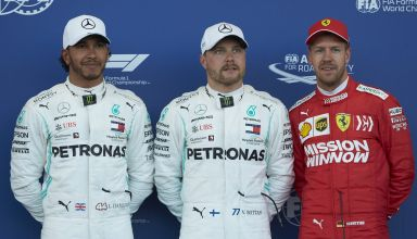 2019 Azerbaijan GP Qualifying top three Bottas Hamilton Vettel F1 2019 Photo Daimler