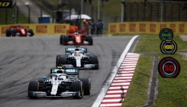 Bottas Hamilton Vettel Leclerc Chinese GP F1 2019 formation lap Photo Daimler