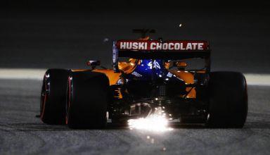Carlos Sainz McLaren MCL34 Bahrain GP F1 2019 race night sparks Photo McLaren
