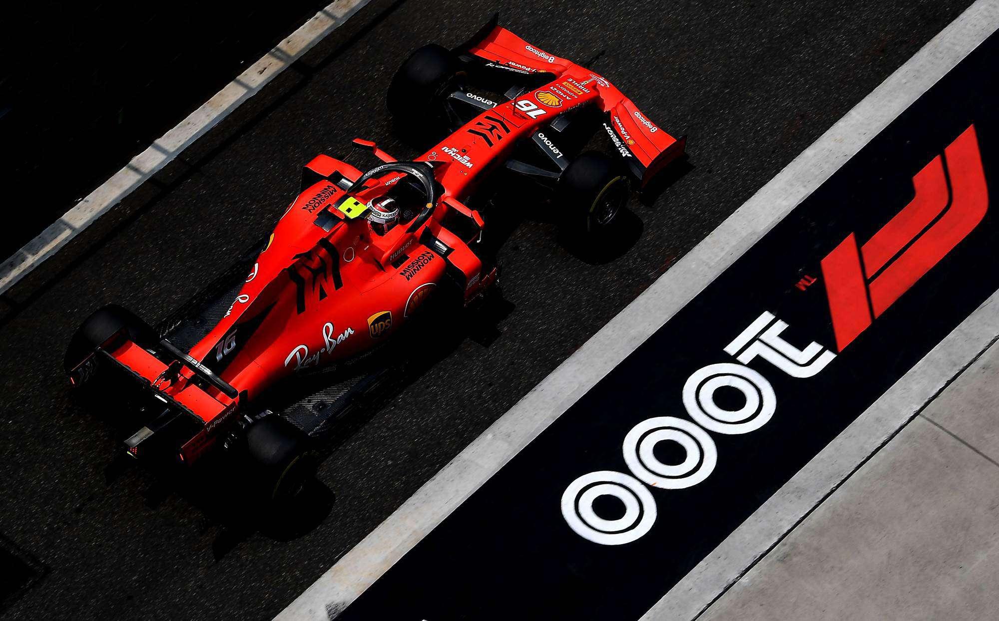 Charles-Leclerc-Ferrari-Chinese-GP-F1-2019-pitlane-F1-1000th-race-Photo-Ferrari