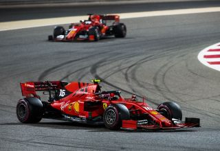 Charles Leclerc leads Sebastian Vettel Ferrari Bahrain GP F1 2019 race Photo Ferrari