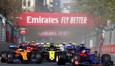 Kvyat leads Sainz Azerbaijan GP F1 2019 first lap Photo Red Bull