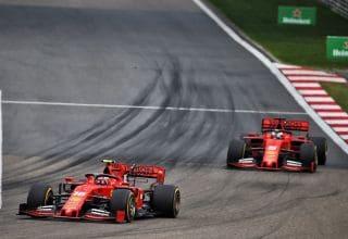 Leclerc leads Vettel Ferrari SF90 F1 1000th race Chinese GP F1 2019 F1 1000th race Photo Ferrari