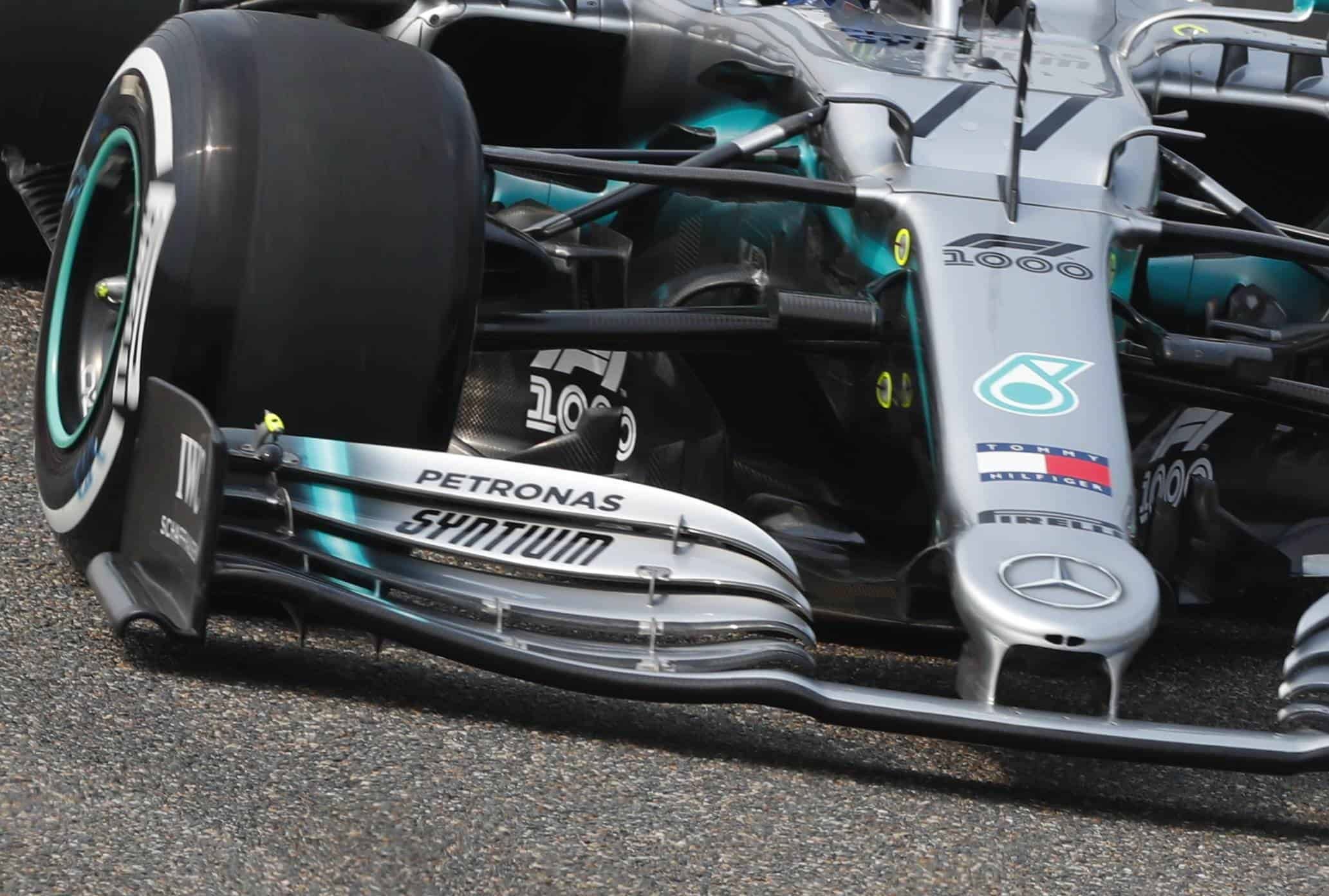 Mercedes F1 W10 new front wing endplate Chinese GP F1 2019 Photo Daimler Edited by MAXF1net