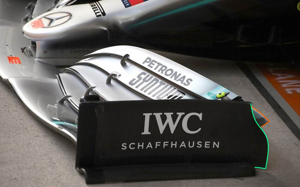 Mercedes F1 W10 new front wing endplate side Chinese GP F1 2019 Photo Daimler Edited by MAXF1net