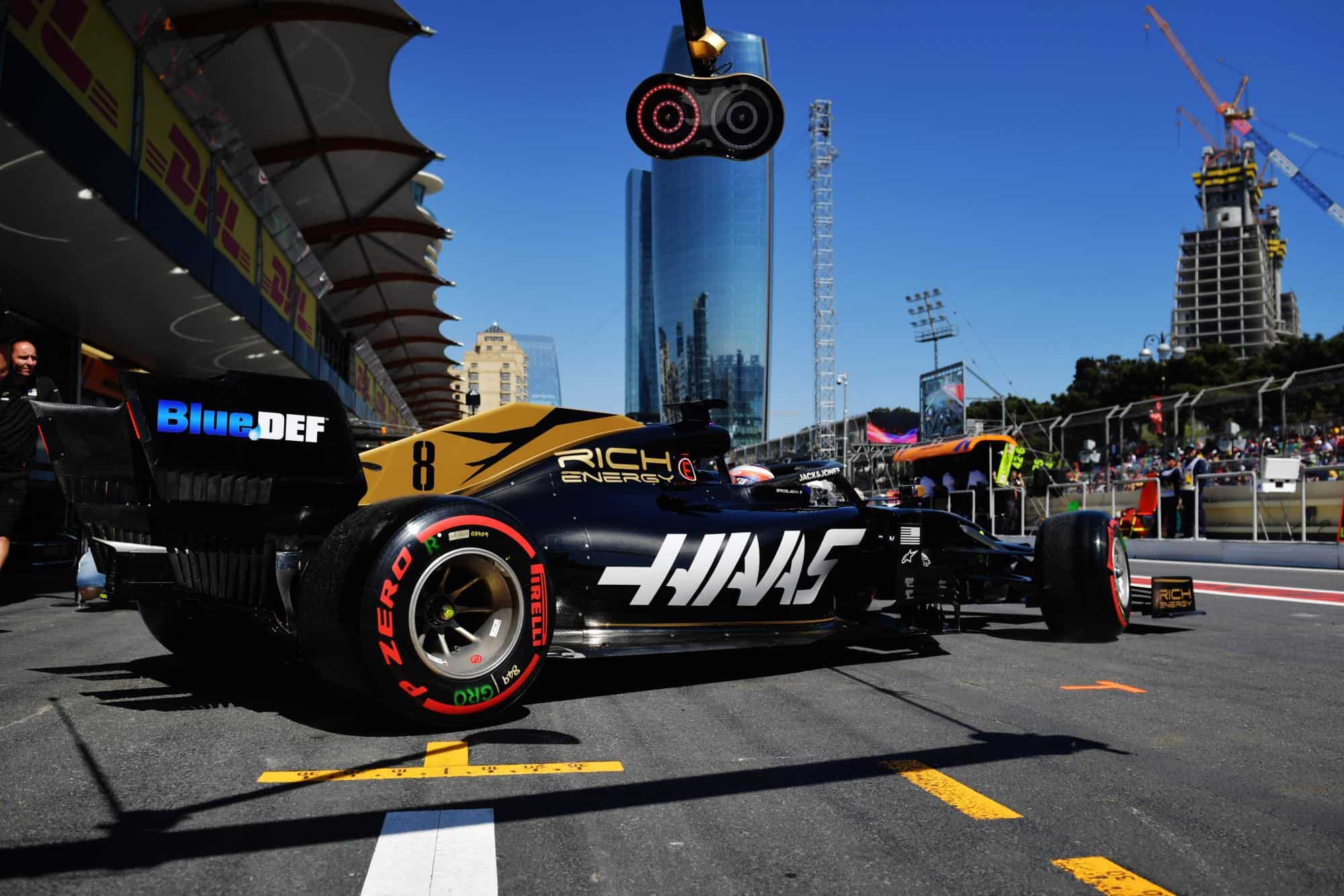 Romain Grosjean Haas Ferrari Azerbaijan GP F1 2019 pitlane Photo Haas