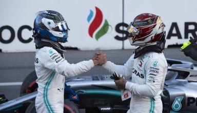 Valtteri Bottas and Lewis Hamilton Mercedes F1 W10 Azerbaijan GP F1 2019 post qualifying Photo Daimler