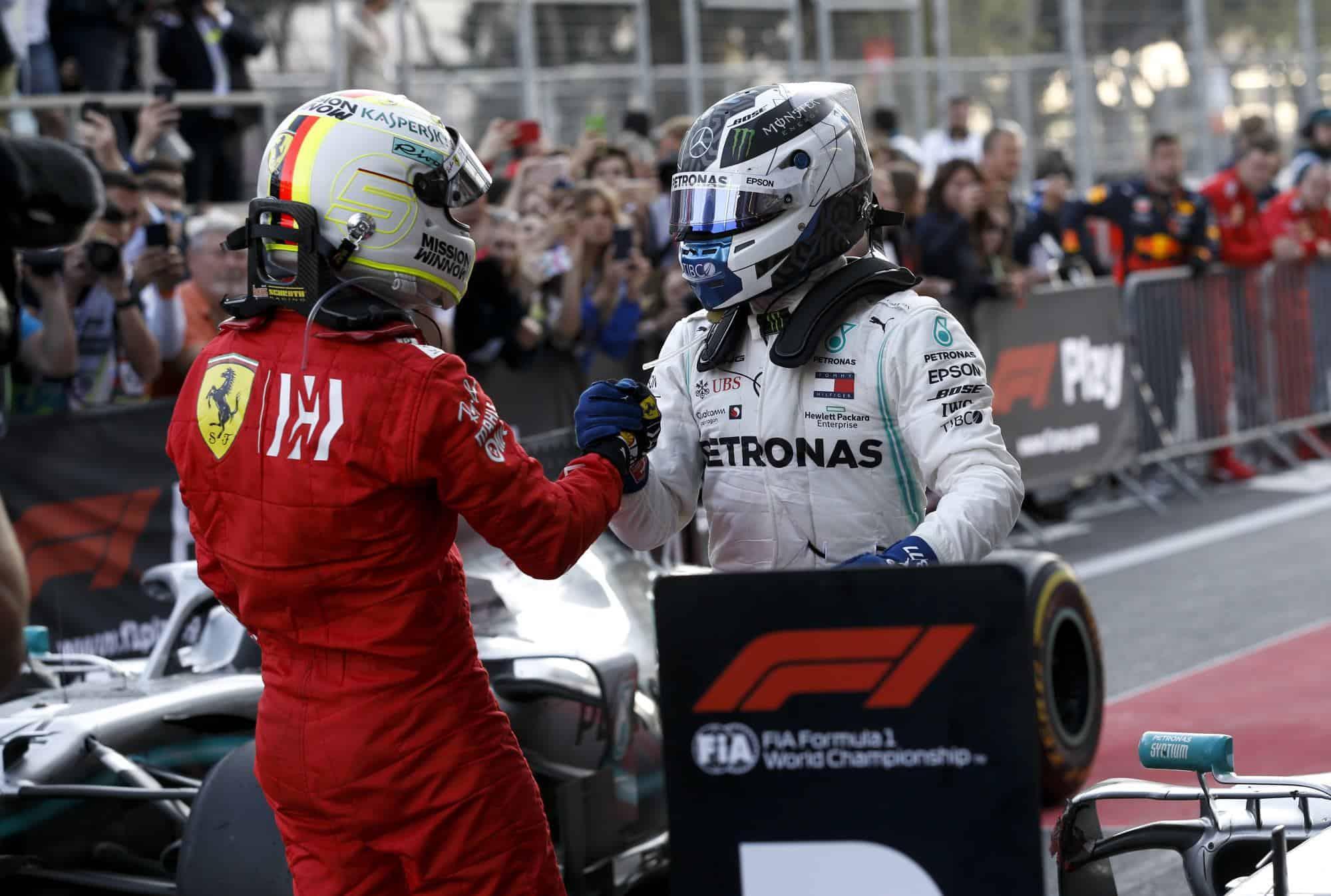 Vettel congratulates Bottas on his 2019 Azerbaijan GP victory Photo Daimler