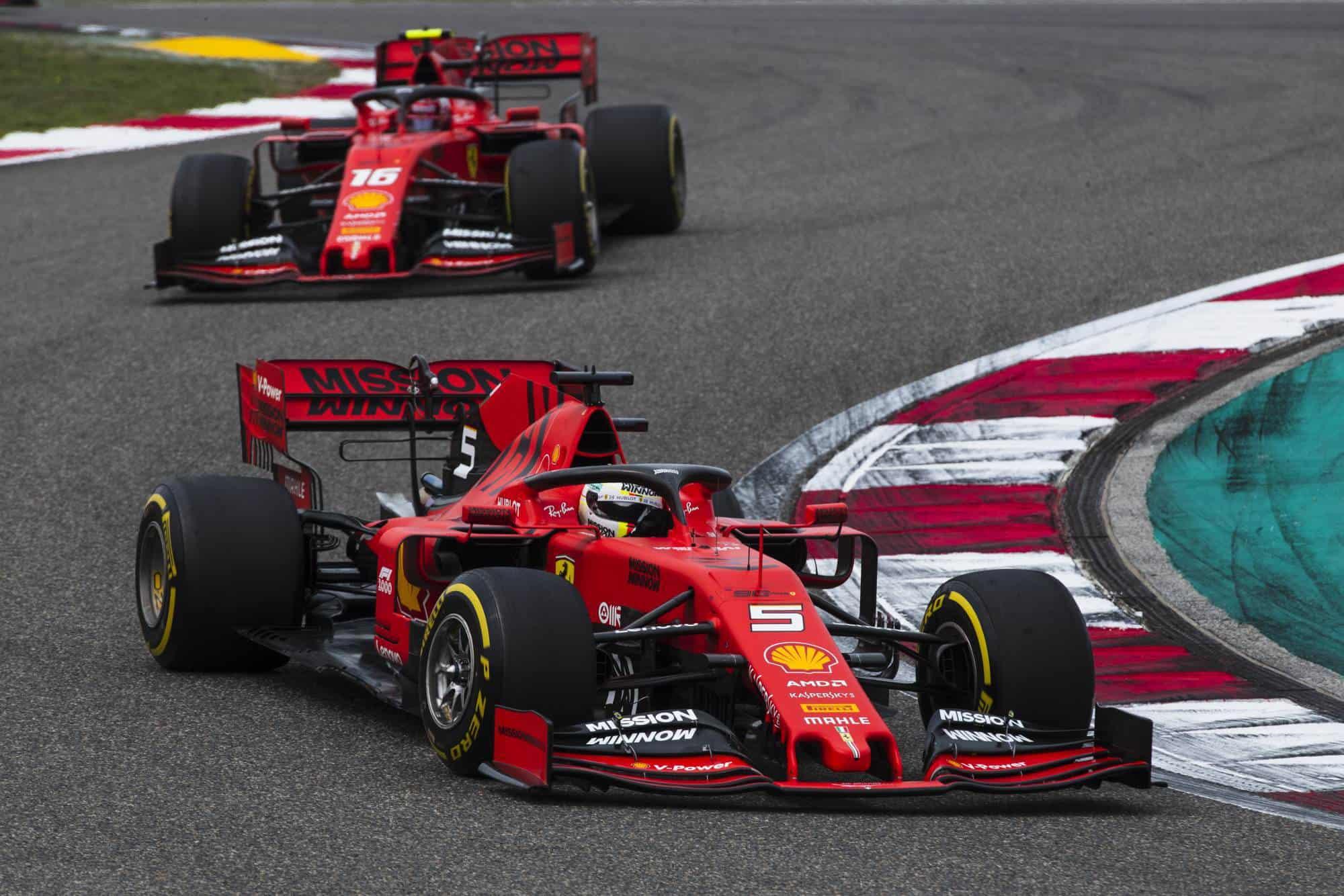 Vettel leads Leclerc Chinese GP Ferrari SF90 F1 2019 Photo Ferrari