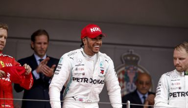 Hamilton wins Monaco GP F1 2019 podium Vettel Bottas Photo Daimler