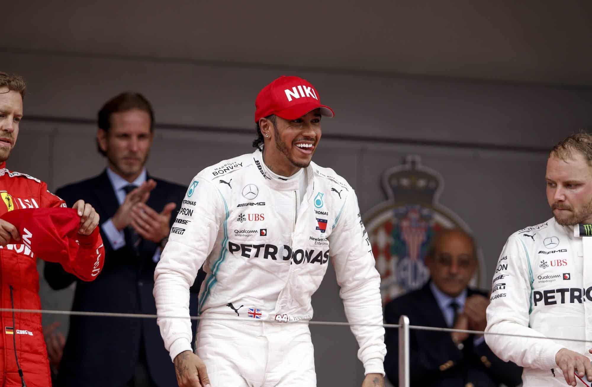 Hamilton wins Monaco GP F1 2019 podium Vettel Bottas Photo Daimler