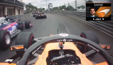 Sainz McLaren Monaco GP F1 2019 onboard overtake of Toro Rosso Screenshot F1-com