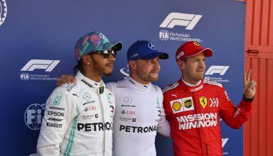Valtteri Bottas Lewis Hamilton Sebastian Vettel after qualifying Spanish GP F1 2019 Photo Daimler