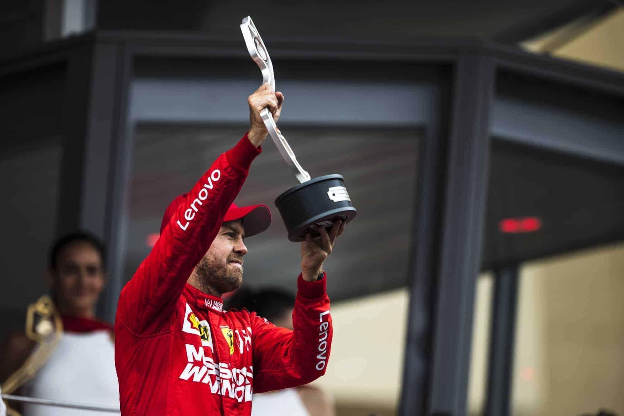 Vettel Ferrari Monaco GP F1 2019 podium trophy Photo Ferrari