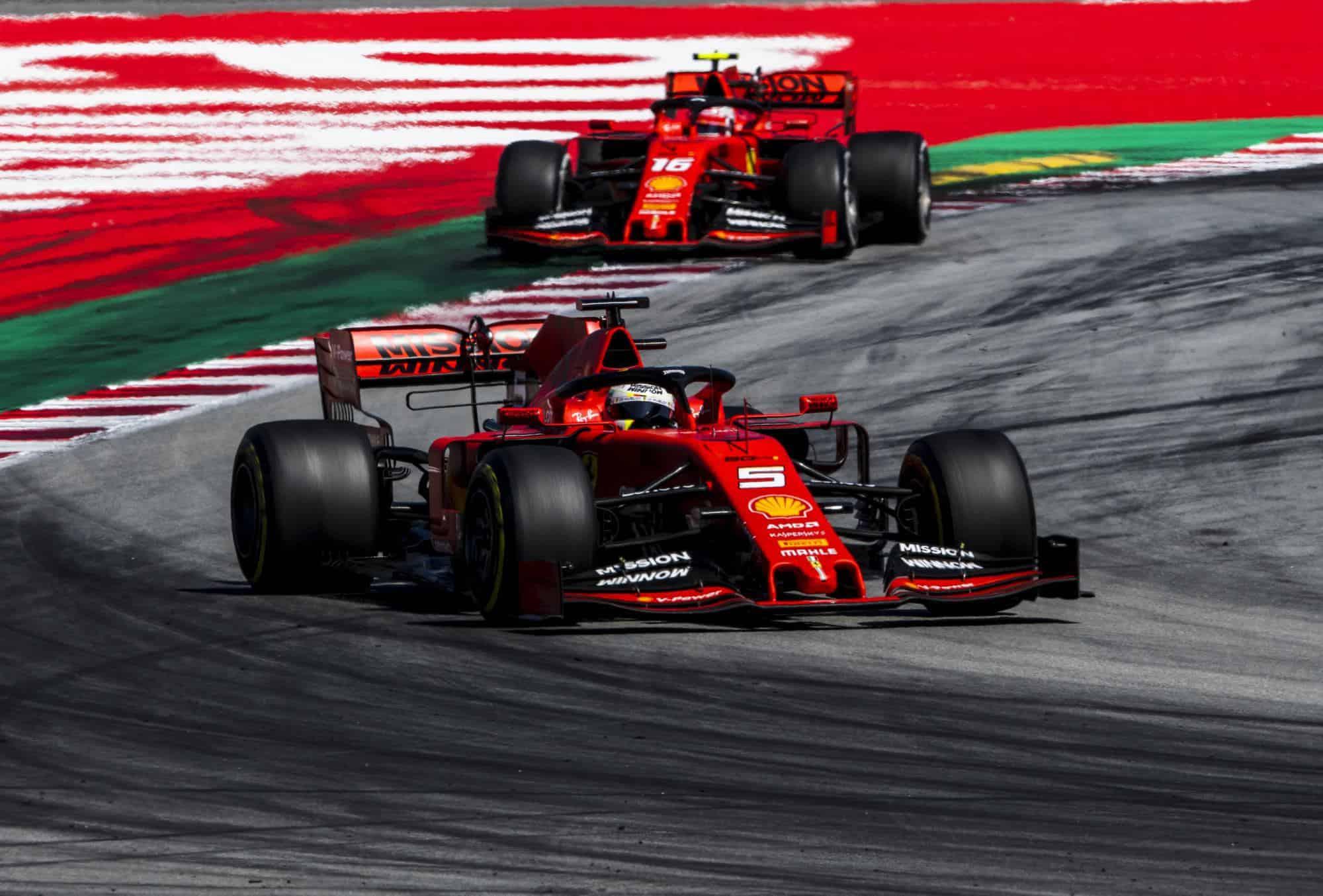 Vettel leads Leclerc Ferrari SF90 Spanish GP F1 2019 Photo Ferrari