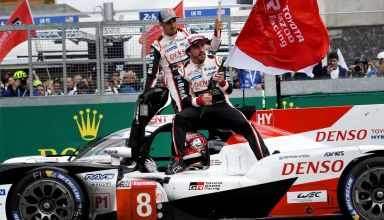 Alonso Nakajima Buemi Toyota LeMans 24h 2019 celebrating victory Photo Eurosport