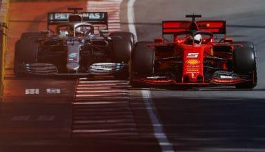 Lewis Hamilton Mercedes F1 W10 and Sebastian Vettel Ferrari SF90 Canadian GP F1 2019 celebrating victory Photo Daimler