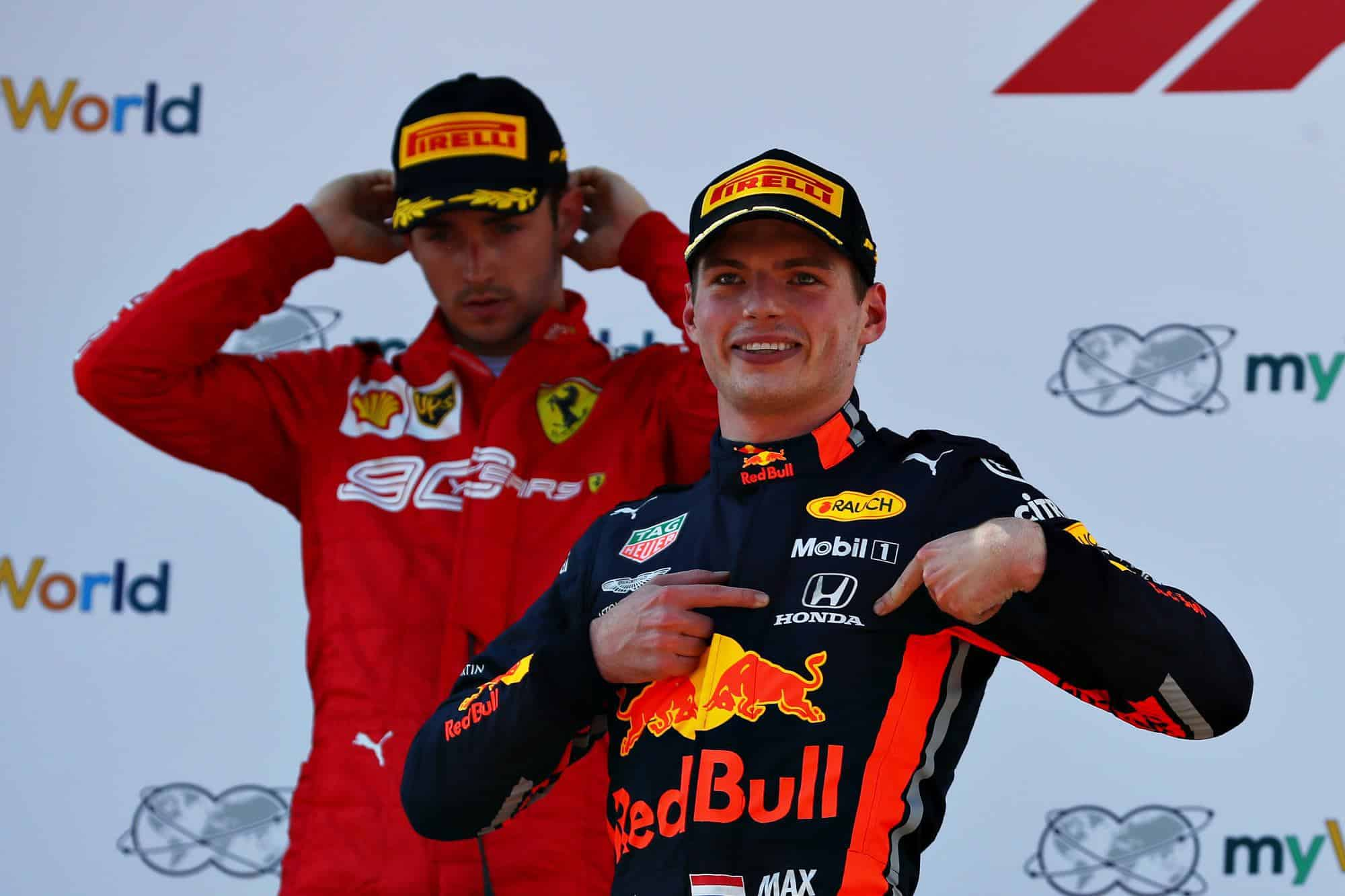 Max Verstappen Red Bull Honda and Charles Leclerc Ferrari on podium Austrian GP F1 2019 Photo Red Bull