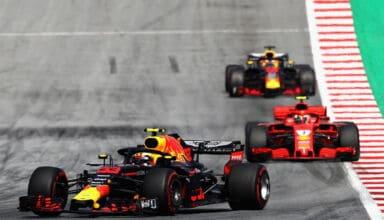 2018 Austrian GP Verstappen leads Raikkonen and Ricciardo Photo Red Bull