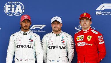 Bottas Hamilton Leclerc British GP F1 2019 post qualifying Photo Daimler