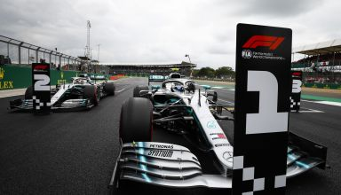 Bottas and Hamilton Mercedes British GP F1 2019 post qualifying on track Photo Daimler
