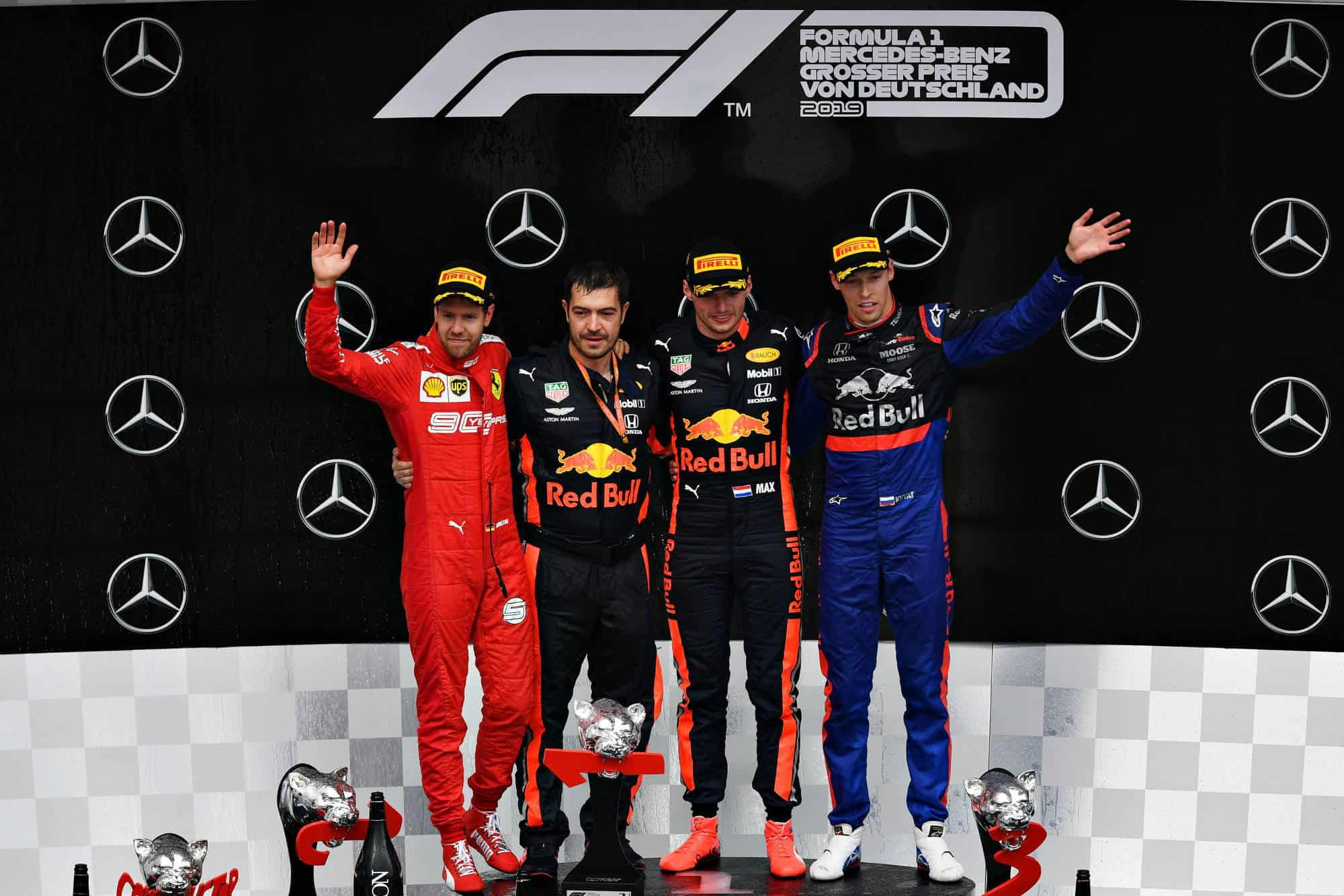 German GP F1 2019 podium Verstappen Vettel Kvyat Photo Red Bull