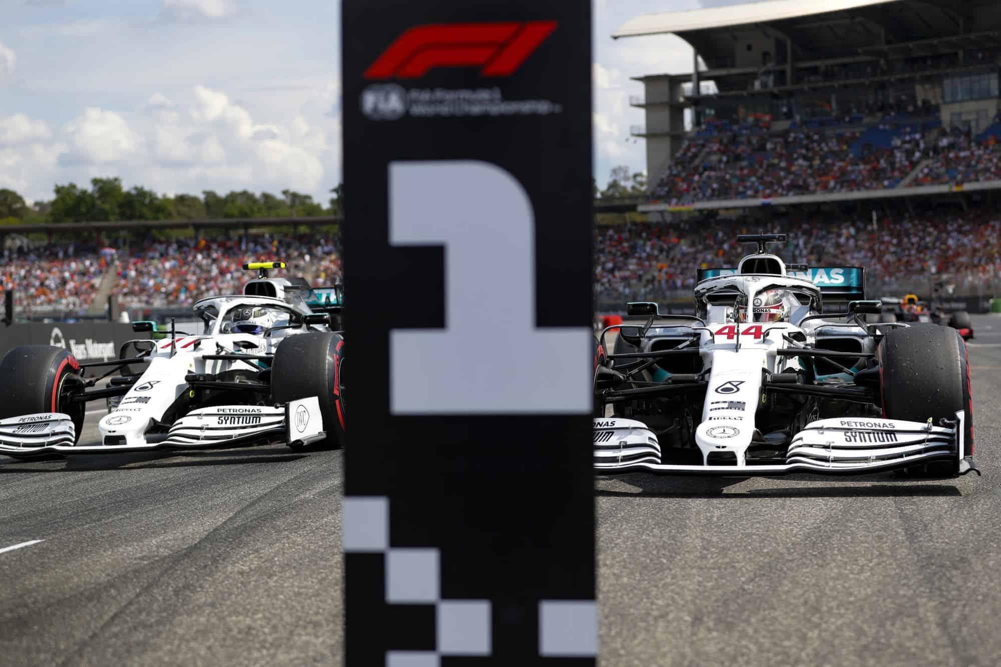 Hamilton Bottas German GP F1 2019 post qualifying on the track Photo Daimler