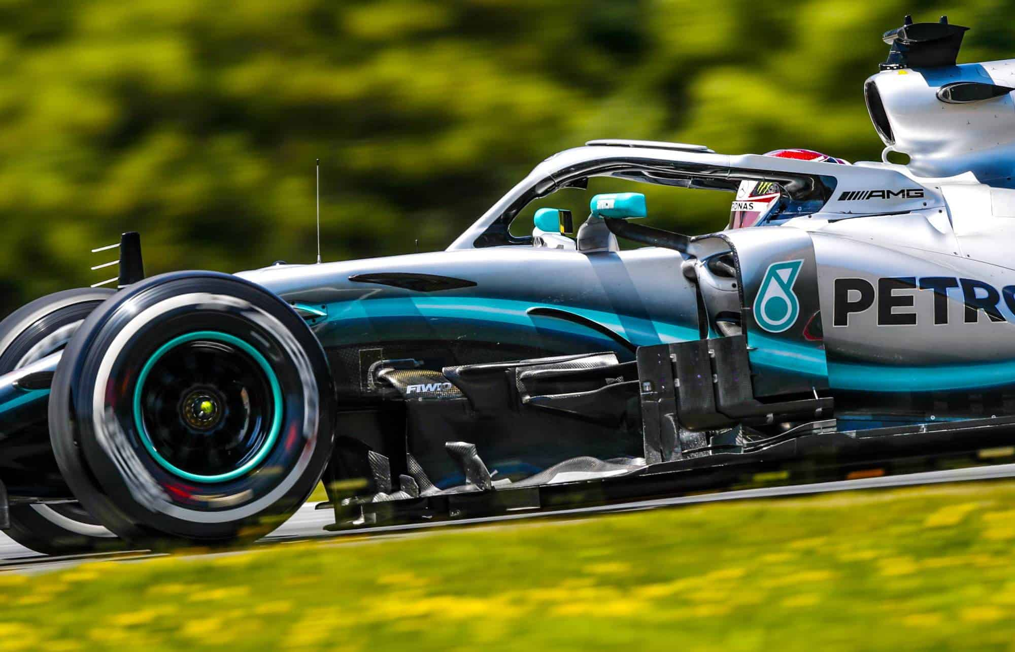Hamilton Mercedes F1 W10 Austrian GP F1 2019 side view Photo Daimler
