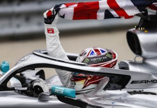 Hamilton Mercedes F1 W10 celebrating victory in the car at the 2019 British GP F1 2019 Photo Daimler