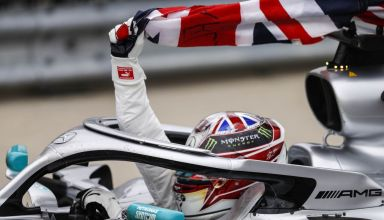 Hamilton Mercedes F1 W10 celebrating victory in the car at the 2019 British GP F1 2019 Photo Daimler